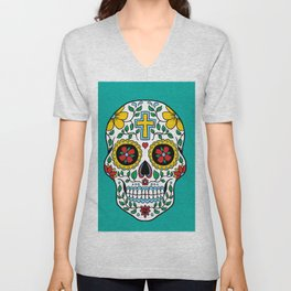 Colorful Skull IX Unisex V-Neck