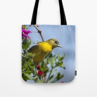 baltimore Tote Bags featuring Baltimore Oriole by Christina Rollo