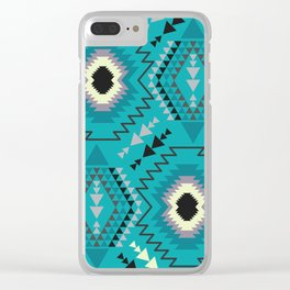 Geometry in teal blue Clear iPhone Case