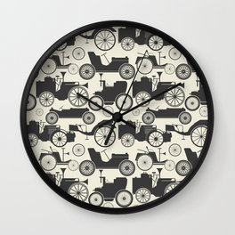 Retro pattern with vintage cars Wall Clock