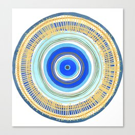Turquoise Evil Eye Mandala Canvas Print