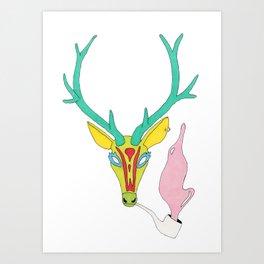 DEER WITH PIPE Art Print