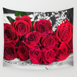 Romantic Bouquet Of Red Roses Wall Tapestry