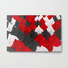Black, white and red twisted pyramids Metal Print