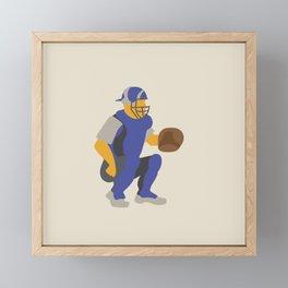 Baseball Player in Blue Catching, Flat Graphic Framed Mini Art Print