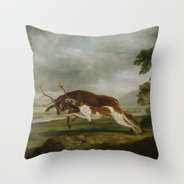 George Stubbs  -  Hound Coursing A Stag Throw Pillow
