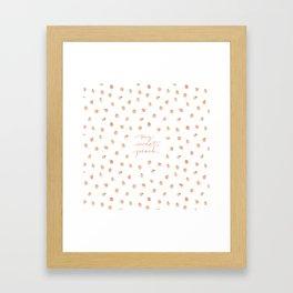 Sweet Peach Polka Dot, White Framed Art Print