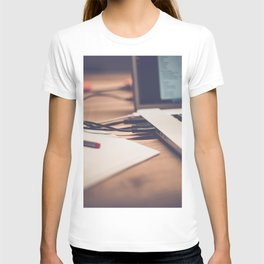 The side of a laptop T-shirt