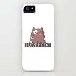 I Love My Cat iPhone Case