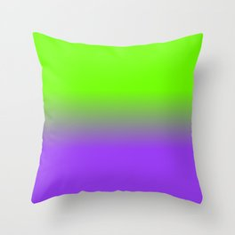 Neon Purple and Neon Green Ombré  Shade Color Fade Throw Pillow