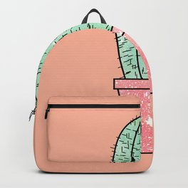 Cute Faux Sparkly Cactus on Coral Pink Backpack