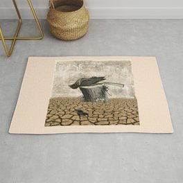 BLACK BIRD Halloween Illustration Rug