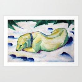 Dog Lying in the Snow Art Print
