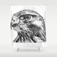hawk Shower Curtains featuring Hawk by Emma Dowling