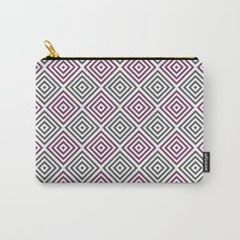 Burgundy, gray and white diamond rhombus pattern Carry-All Pouch