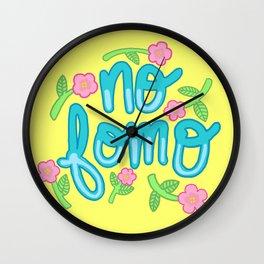 No fomo floral zen 90s typography Wall Clock