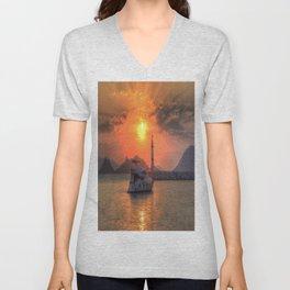 Lighthouse And Yacht Sunset Unisex V-Neck