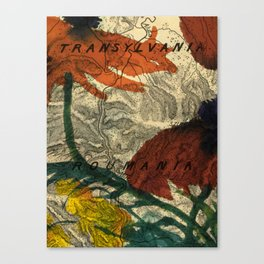 Vintage Made Modern: Transylvania Roumania Map Collaged with Flowers Canvas Print