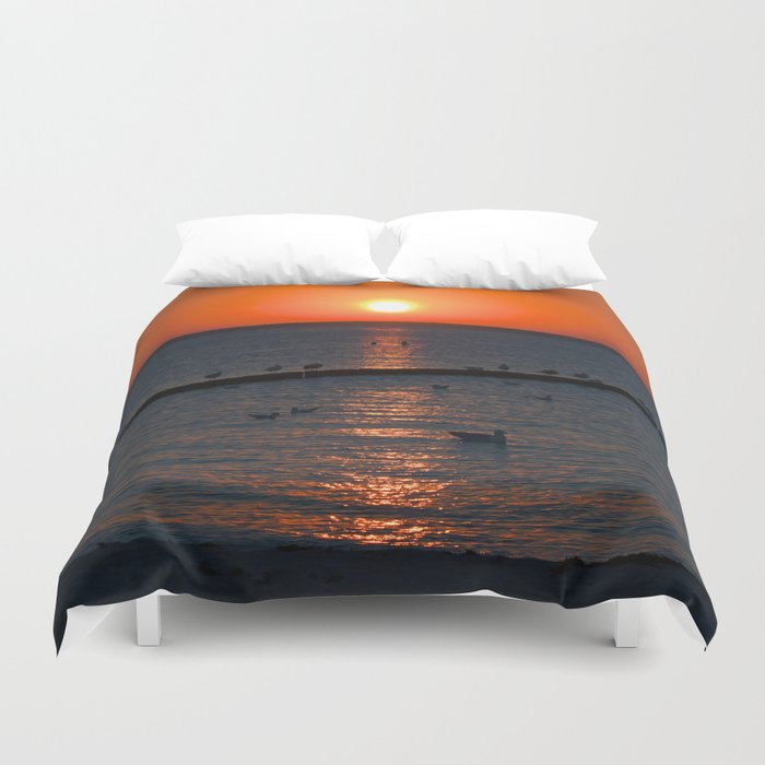 Holy sunset on the Baltic Sea Duvet Cover