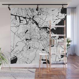 Amsterdam White on Black Street Map Wall Mural