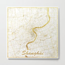 Shanghai Map Gold Metal Print