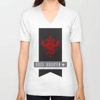 daenerys targaryen V-neck T-shirts featuring House Targaryen Sigil V2 by P3RF3KT