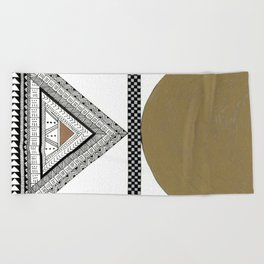 Geometric Shapes with Gold, Copper and Silver Beach Towel