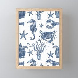 Delft Blue nautical Marine Life pattern, coastal beach Framed Mini Art Print