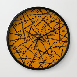 Bobby Pins Scattered Wall Clock