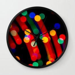 Bokeh Christmas Lights With Light Trails Wall Clock