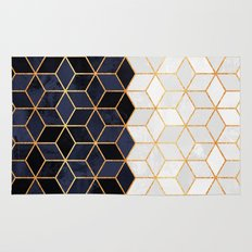 White & Navy Cubes Rug