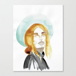 Judy with a Mint-Coloured Hat Canvas Print