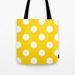 Large Polka Dots - White on Gold Yellow Tote Bag
