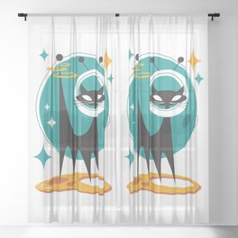 Atomic Space Cat Mid Century Modern Art Scooter Sheer Curtain