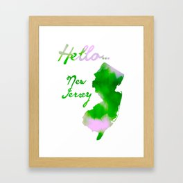 Watercolor New Jersey Art - Hello... New Jersey Framed Art Print