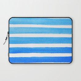 Blue Watercolor Stripes Laptop Sleeve