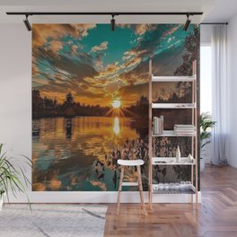 Sunset over Moswansicut Pond, North Scituate, Rhode Island Wall Mural