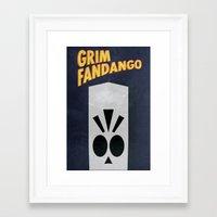 grim fandango Framed Art Prints featuring Minimalist Grim Fandango Poster by Lance Magnum
