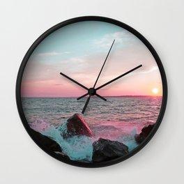 Pink and Blue Sunset Over Newport Rhode Island Wall Clock