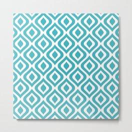 Mid Century Modern Diamond Ogee Pattern 132 Turquoise Metal Print