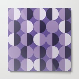 Retro circles grid purple Metal Print