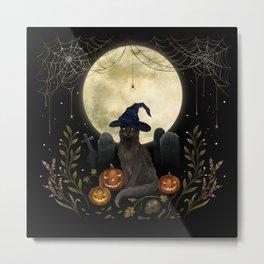 The Black Cat on Halloween Night Metal Print