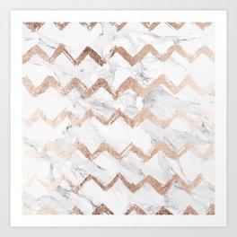 Chic faux rose gold chevron white marble pattern Art Print