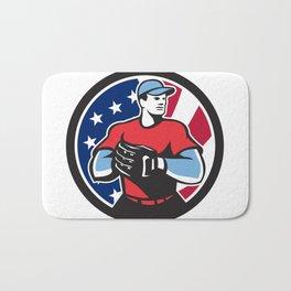 American Baseball Pitcher USA Flag Icon Bath Mat