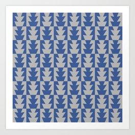 Art Deco Jagged Edge Pattern Blue and Gray Art Print