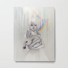 Girl and bunny Metal Print