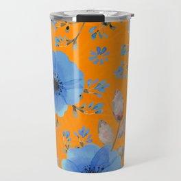 Blue flowers with orange Travel Mug