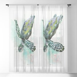 Sea Turtle, underwater scene,  green turquoise beach house design Sheer Curtain