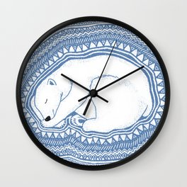 Polar bear, floe, pattern Wall Clock