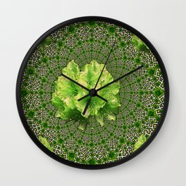 Lime Flowers & Green Irish Roses Optical Art Wall Clock